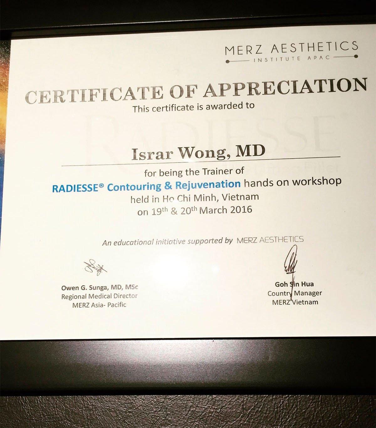 Certificate Merz Aesthetics APAC