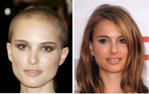 Natalie Portman with a crew cut vs long hair